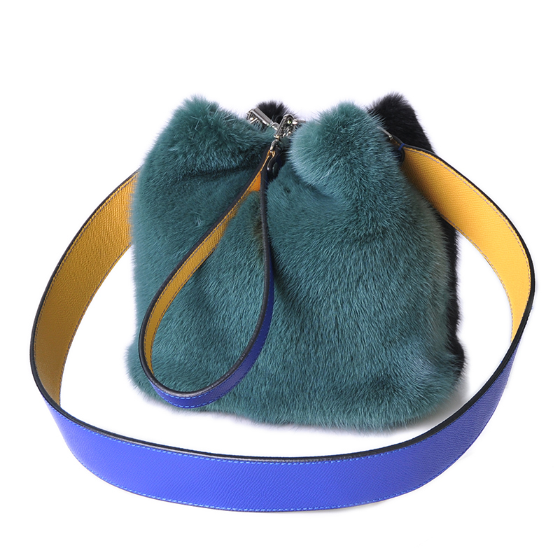 Glaforny New Arrival Women Real Mink Fur Handbag Luxry Real Fur Flap Ladies Crossbody Bags Female Bags For Lady Fur Shoulder Bag