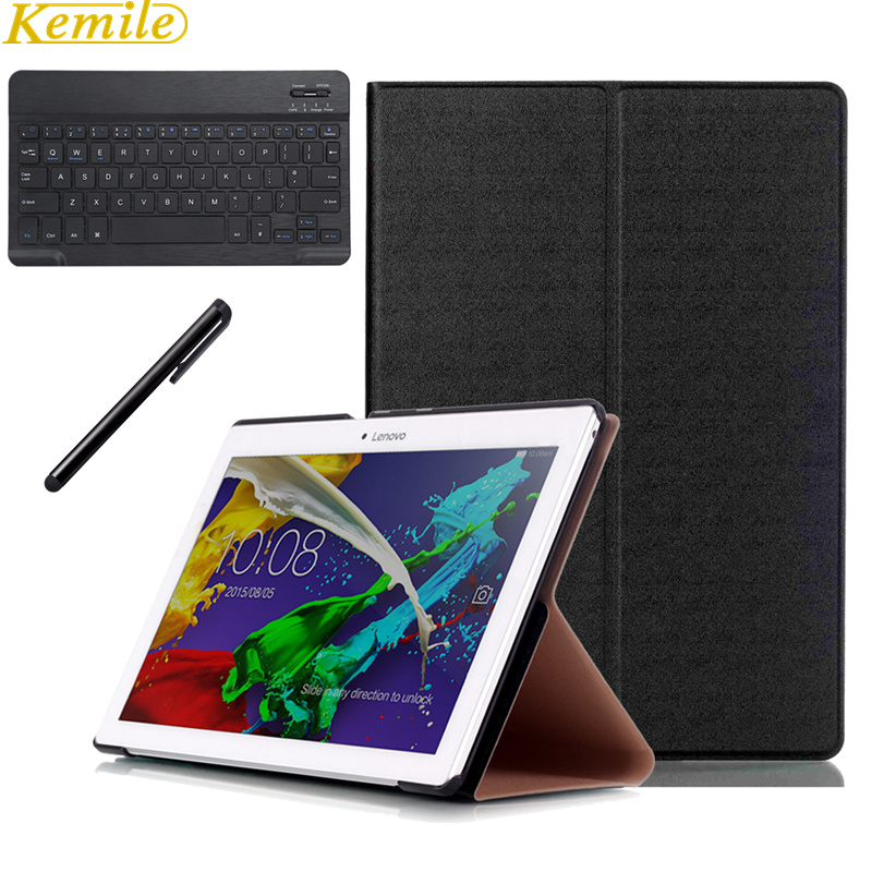 Ultra-Slim Magnetic Folding Flip PU Case Cover For lenovo TAB2 X30F A10-30/TAB2 A10-70/TAB 3 10 Business +Bluetooth Keyboard case for lenovo tab 4 10 plus protective cover protector leather tab 3 10 business tab 2 a10 70 a10 30 s6000 tablet pu sleeve 10