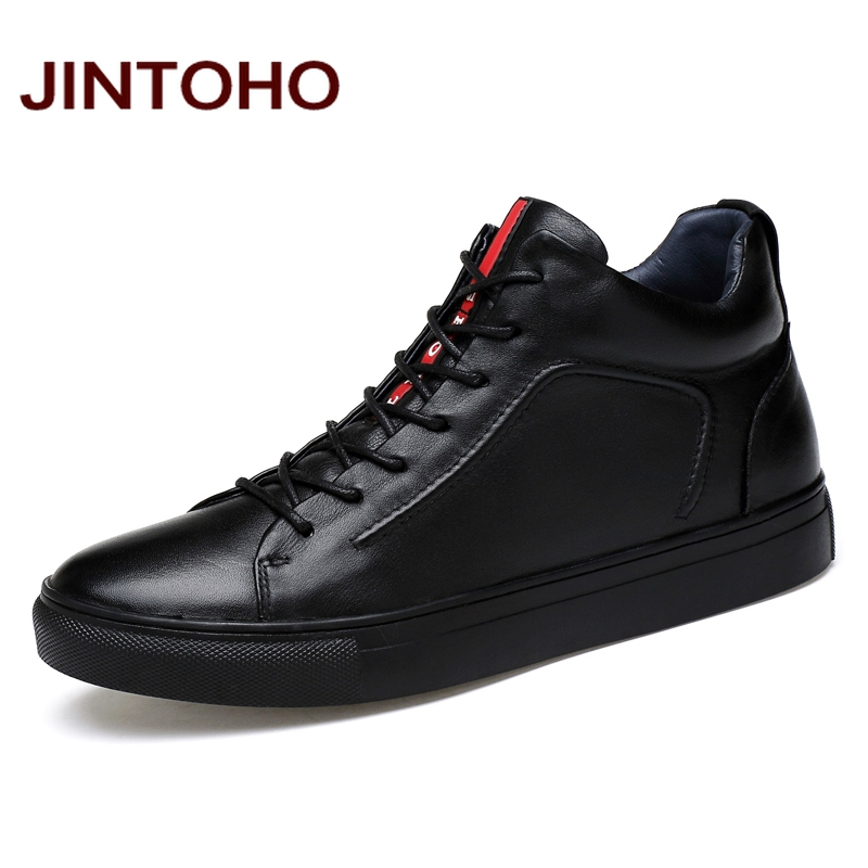 JINTOHO 2018 Casual Leather Boots Genuine Leather Men Shoes Fashion Male Shoes Winter Ankle Boots Male Boots Winter Men Shoes