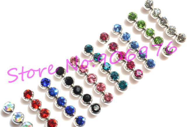 New Eyebrow Ring TONGUE Bar Lip Stud Ball Gem Fashion Body Piercing Jewelry  Piercing accessory 1.6*6mm 1.2*3mm Free Shipping
