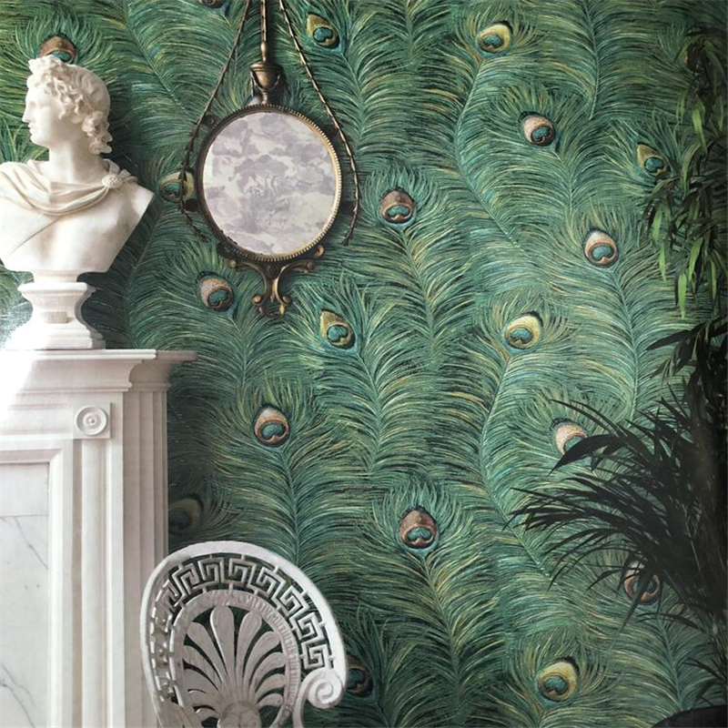 Beibehang Southeast Asian Style Chinese Peacock Feather Wallpaper Bedroom Living Room Theme Hotel Hotel TV Background Wall