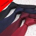 Дешевые Галстуки Пледы Маленькая Точка Черный Темно-Красный Бургундия Corbata мужчины 7 см Тканые Галстук Slim Для Мужчин Платья Дешевые Галстуки пледы