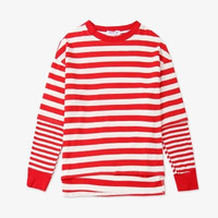 New Kpop BTS Bangtan Boys V The Same Around Student Sweatershirt Round Neck Loose Stripe Fake