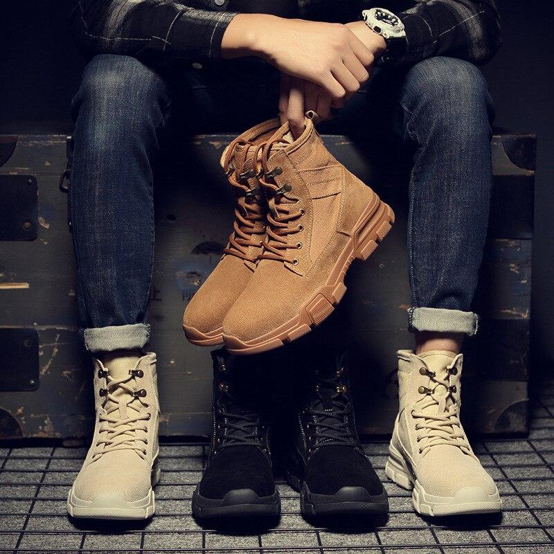 Мужская зимняя высокая обувь; Мужская обувь; кожаные мужские ботинки дезерты; Повседневная обувь; трендовые мужские кроссовки - 5