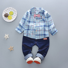 hot deal buy boys clothing sets children tracksuits kids sport suit casual plaid shirt+jeans 2pcs baby set for toddler boys clothes