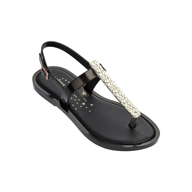 Melissa Woman Sandals 2019 fashion high quality Rhinestone women flip flops shoes ladies casual summer beach shoes in Low Heels from Shoes