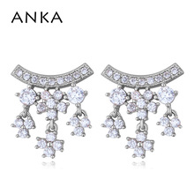 ANKA brand romantic flower earrings luxury wave women drop earrings rose gold color charm top zirconia fashion Jewelry #26081 anka brand romantic flower earrings luxury wave women drop earrings rose gold color charm top zirconia fashion jewelry 26081