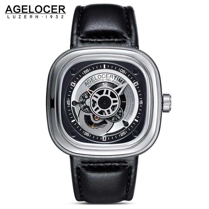 Agelocer Brand Relogio Masculino Automatic Watch 100 Cowhide Watchband Sport Wrist Watch Men Stainless Steel Waterproof