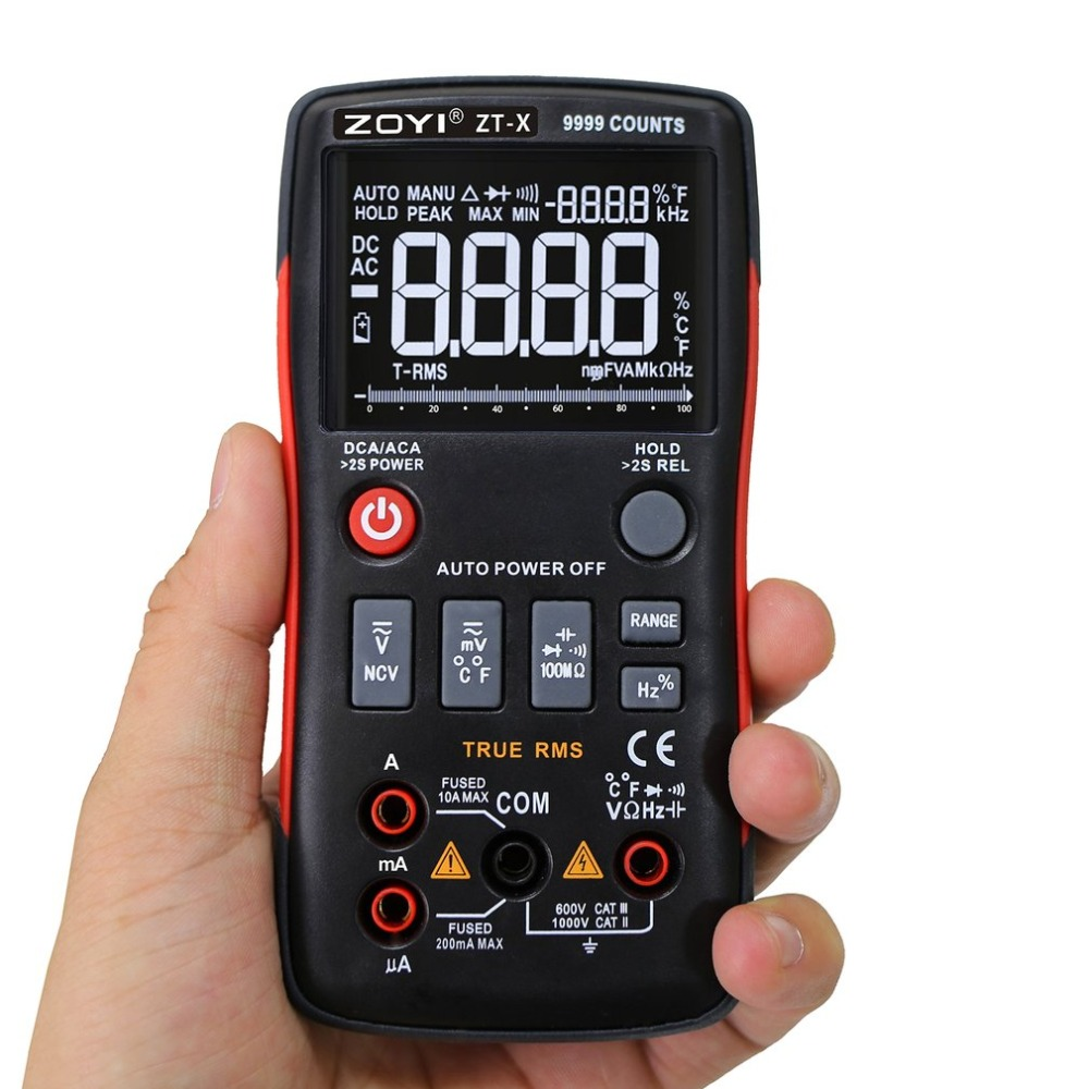 ZT Digital Icd Multimeter True RMS Auto Range Mastech Tester Diode Multimeter ac dc multimetro 409 sanwa with probe test lead b