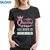 Womans Tee Shirts Queens Are Born In November 1946 Funny 71st Birthday Gift Custom T Shirts