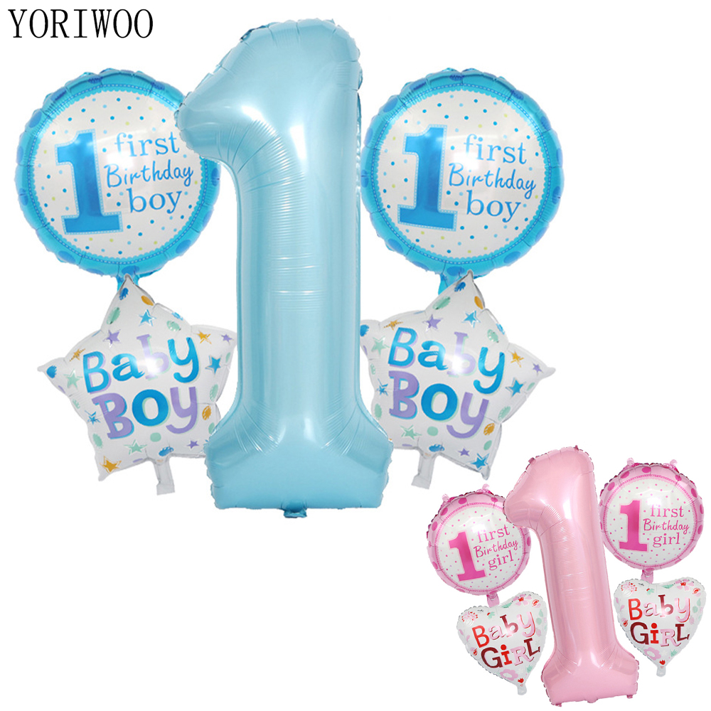 YORIWOO One Year Old Latex Balloon Confetti My 1st Birthday Decorations Party Happy 1 Baby Shower Boy Girl