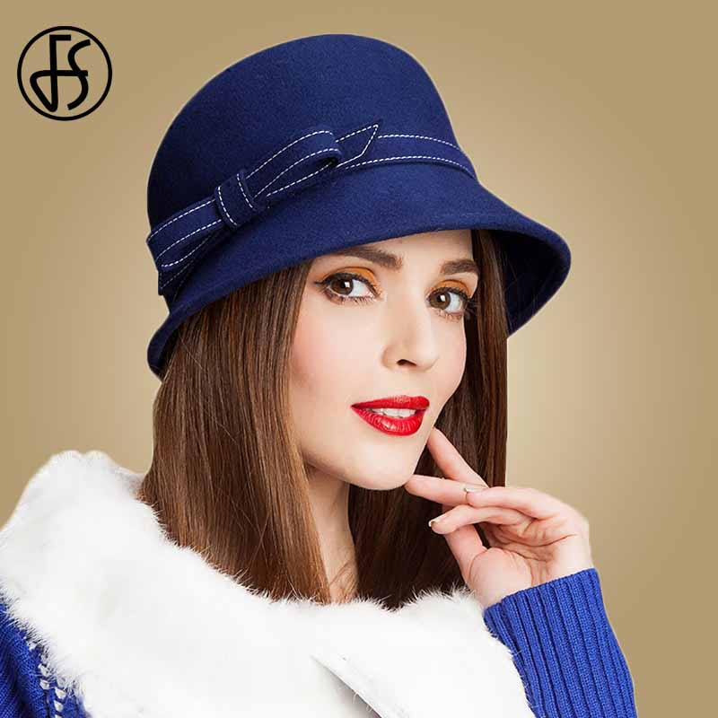 FS Vintage Winter Wool Hat Women Fedora Black Blue Wide Brim Floppy Felt Hats Ladies Elegant