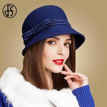 FS Vintage Winter Wool Hat Women Fedora Black Blue Wide Brim Floppy Felt Hats Ladies Elegant Bowler Bow Cloche Cap Chapeau Femme