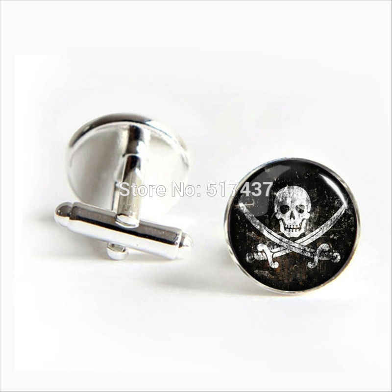 2017 grosir Pirates Skull Manset Vintage Skull Pirates Simbol Manset Kualitas Tinggi Cuff links
