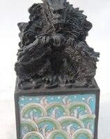 7 Китайский перегородчатой эмали чистая династии Бронзовый император дракон печать штамп перстень