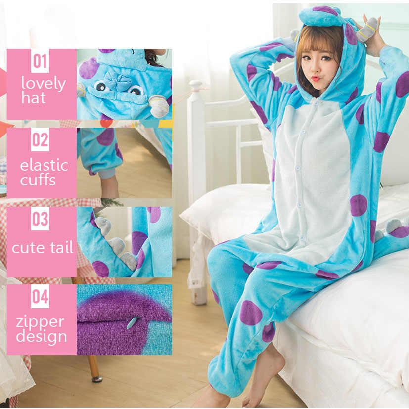 Canavar Sullivan Kigurumi pijama kadın hayvanlar Onesie Anime Cosplay kostüm yetişkin pazen maskot seti parça kış sıcak pijama
