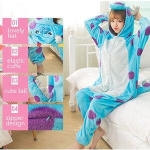 Image 4 - Monster Sullivan Kigurumi Pyjama Frauen Tiere Onesie Anime Cosplay Kostüm Erwachsene Flanell Maskottchen Set Teil Winter Warme Nachtwäsche