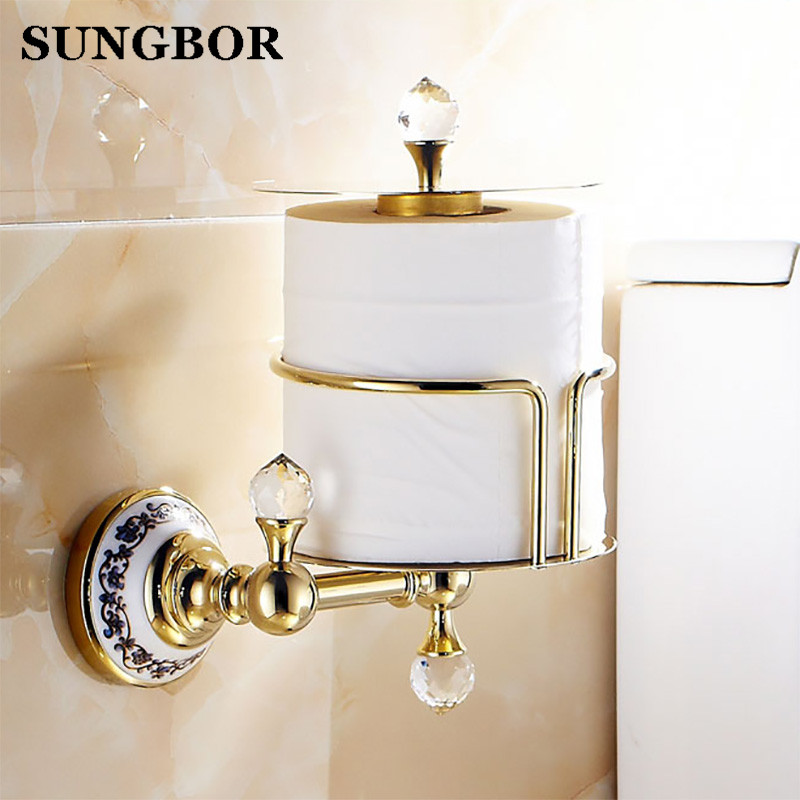 Luxury Crystal Brass Golden Paper Box Toilet Paper Holder WC Paper Holder And Hook Roll Holder Bathroom Accessories GJ-5617K free shipping ba9105 bathroom accessories brass black bronze toilet paper holder