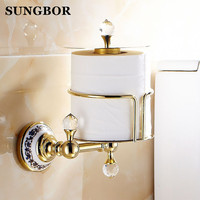 Luxury Crystal Brass Golden Paper Box Toilet Paper Holder WC Paper Holder And Hook Roll Holder Bathroom Accessories GJ 5617K