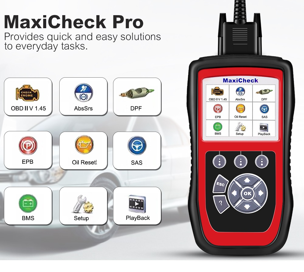 AUTEL MaxiCheck Pro OBD2 Scanner EPB/ABS/SRS/SAS/Airbag/Oil Service Reset/BMS/DPF Code Reader Car Diagnostic Tool Update Online
