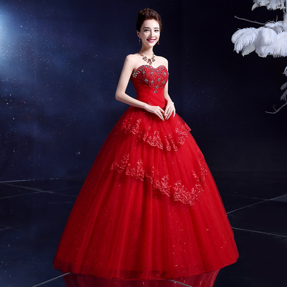 LYG Y10H Manufacturers wholesale new winter 2017 han edition show that wipe  a bosom thin Ball Gown bride wedding dress Red-in Wedding Dresses from  Weddings ... f9072a596ac2