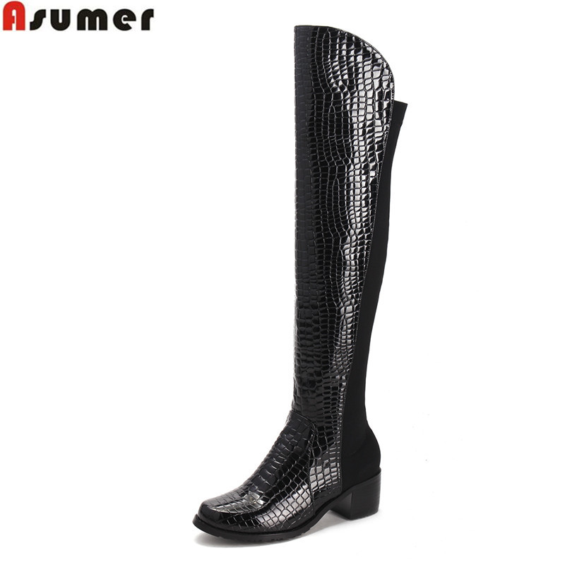 ASUMER Large size 2016 fashion new hot sale women boots med heel round toe shoes solid black winter warm knee high boots asumer 2018 hot sale new arrive women boots round toe black white pink ladies boots keep warm winter knee high boots