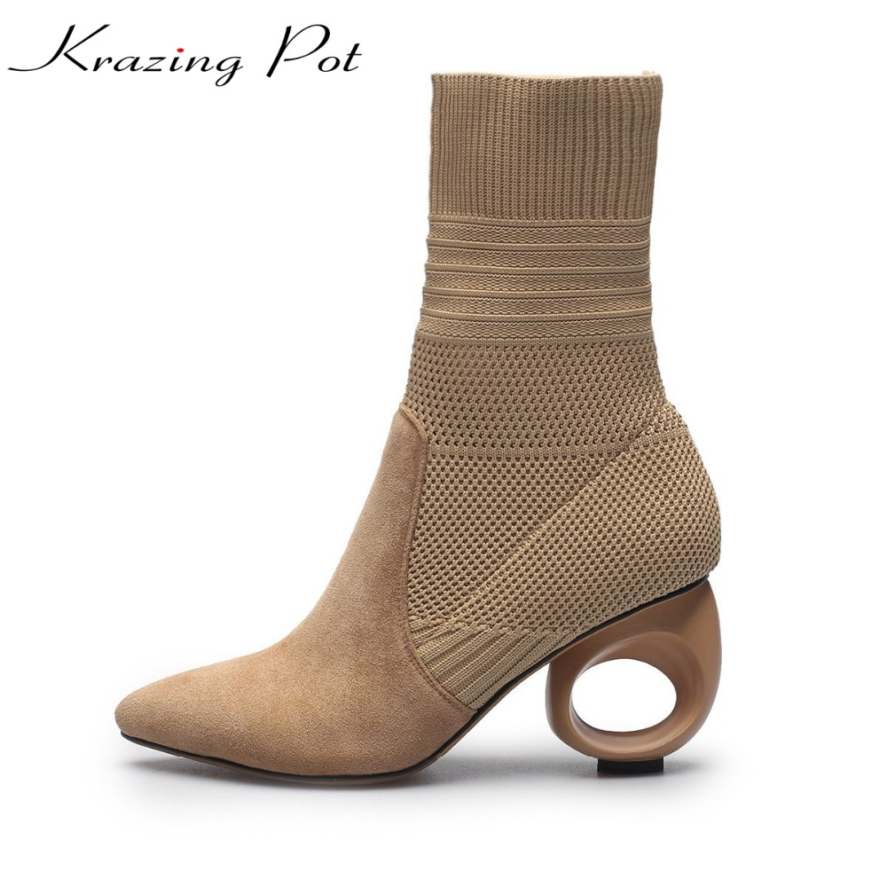 Krazing Pot sheep suede superstar knitting stretch fretwork heels pointed toe women slip on thin leg mild-calf Chelsea boots L01 krazing pot empty after shallow shoes woman lace work flats pointed toe slip on sheep suede causal summer outside slippers l16