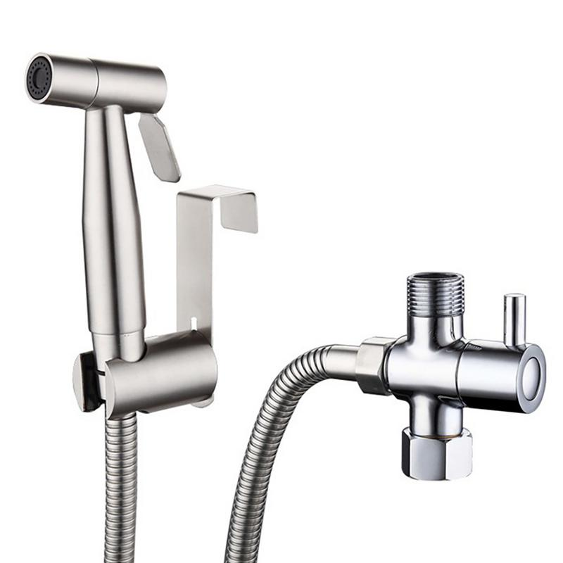 Stainless Steel Toilet Hand Held Bidet Faucet Sprayer Bidet Set Sprayer Gun Toilet Spray For Bathroom Self Cleaning Shower Head|Faucet Extenders| |  - title=