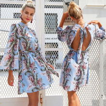 Fashion Women Summer Boho Mini Dress Long Sleeve Backless Floral Beach Dresses Sundress