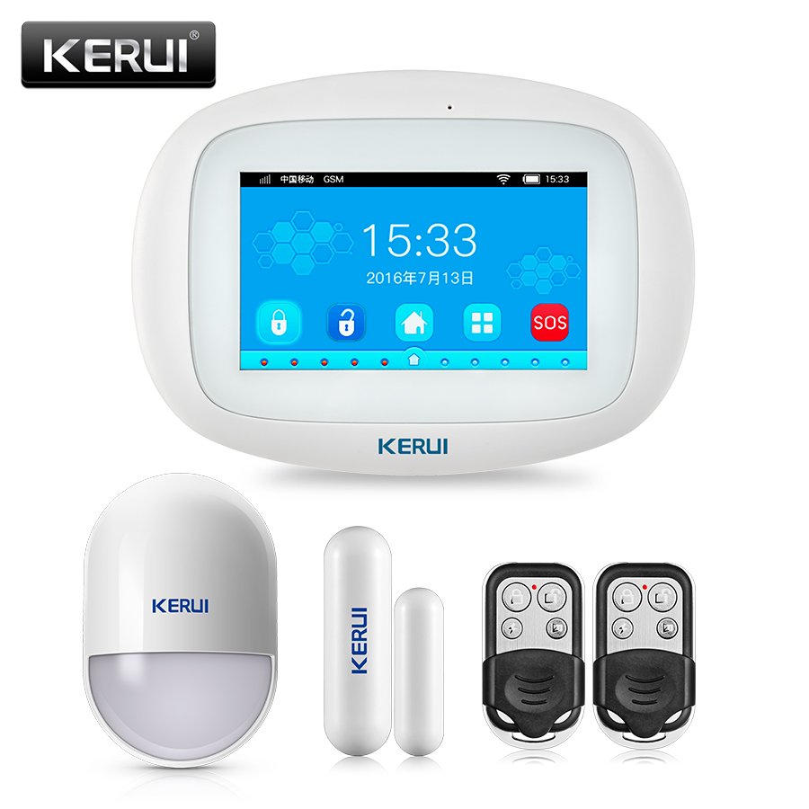 KERUI Neueste Modell K5 Drahtlose WiFi GSM Home Security Einbrecher Alarm System Kits 4,3 Zoll TFT Farbe Touch Screen APP controle