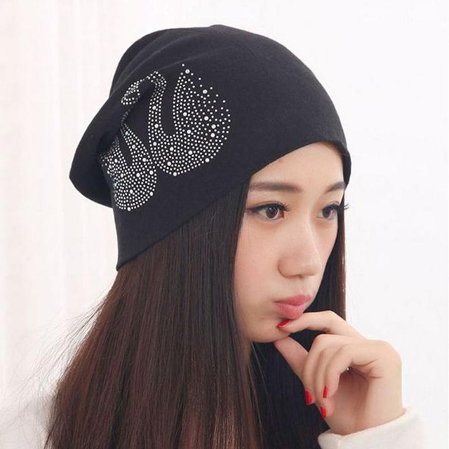 6896e32f058 New Women s Hats with Rhinestone Swan Cotton Turban Beanies for Men Slouchy  Beanie Hip Hop Black Winter Hats for Women Skully