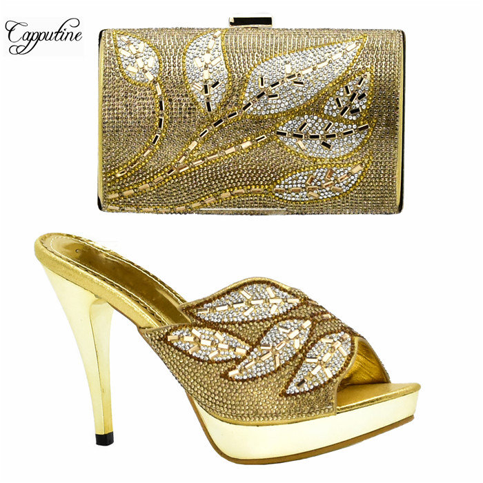 Wonderul gold thin high heel sandal shoes and handbag set with luxury stones XY06 heel height 10cm, many color