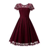 Menbone High Quality Lace Vintage Women Dress Short Sleeve O Neck Casual Party Club Dresses Femme