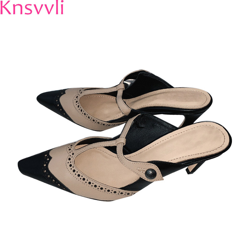 Knsvvli 2019 spring high heel mixed color patchwork women shoes pointy toe hollow cut outs T