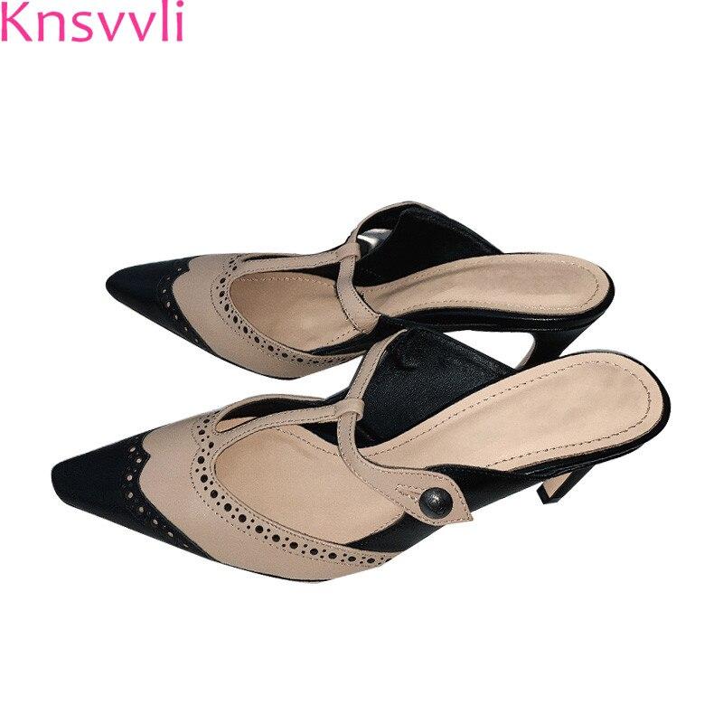 Knsvvli 2019 ฤดูใบไม้ผลิรองเท้าส้นสูงผสมสี patchwork ผู้หญิงรองเท้า pointy toe hollow cut outs ประเภทเข็มขัดหัวเข็มขัดรองเท้าแตะผู้หญิง-ใน รองเท้าใส่ในบ้าน จาก รองเท้า บน   1
