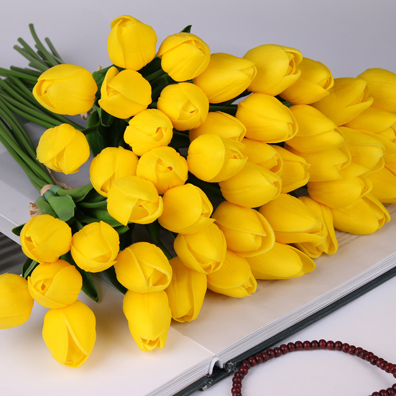 10 Pcs Beauty Real Touch Flowers Latex Tulips Flower Artificial Bouquet Fake Flower Bridal Bouquet Decorate Flowers For Wedding(China)