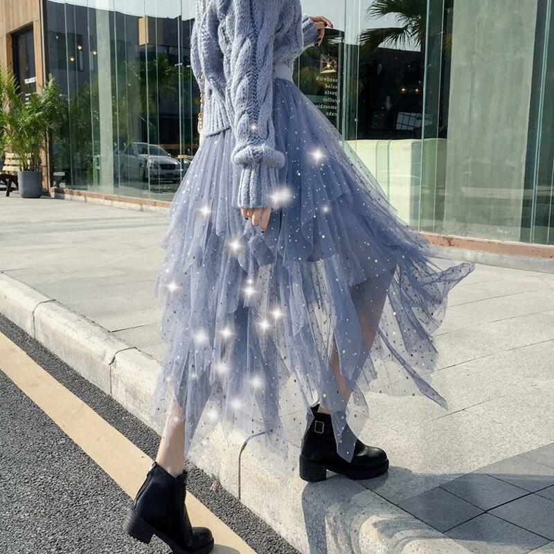 Women's Skirts Summer 2019 New Korean Stars Sequin Elegant High Waist A-line Pleated Elastic Belt School Spring Midi Skirt Femme