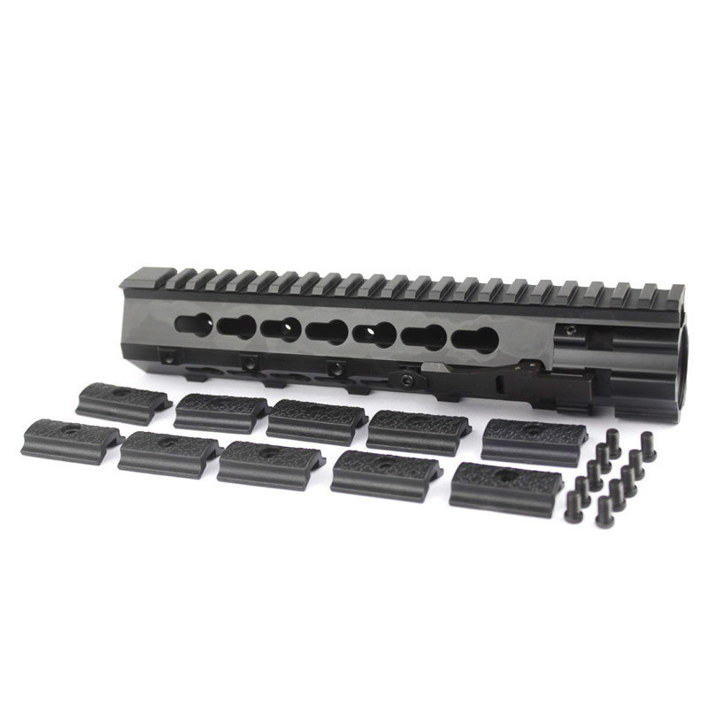 new style Quick Release  9 inch handguard rail one Picatinny rails system  Black free shipping new lightweight cnc aluminum anodes m lok 9 inch handguard rail one picatinny rails system bk tan