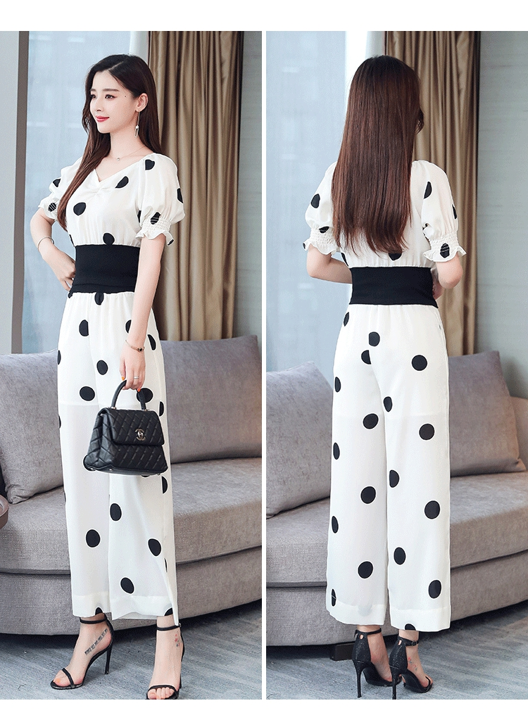 Summer Dot Print Two Piece Sets Outfits Women Plus V-neck Short Tunics Tops And Wide Leg Pants Suits Elegant Ladies 2 Piece Sets 41