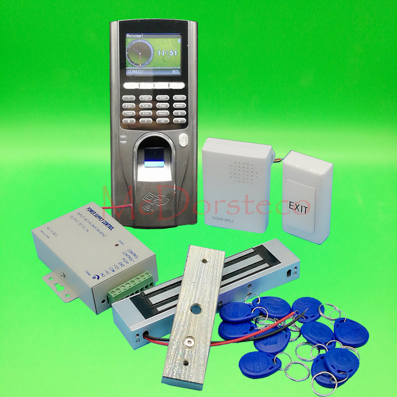 DIY Complete Fingerprint & rfid Card Door Access control system 350lbs 180kg Electric Magentic Lock Door Control System biometric face and fingerprint access controller tcp ip zk multibio700 facial time attendance and door security control system