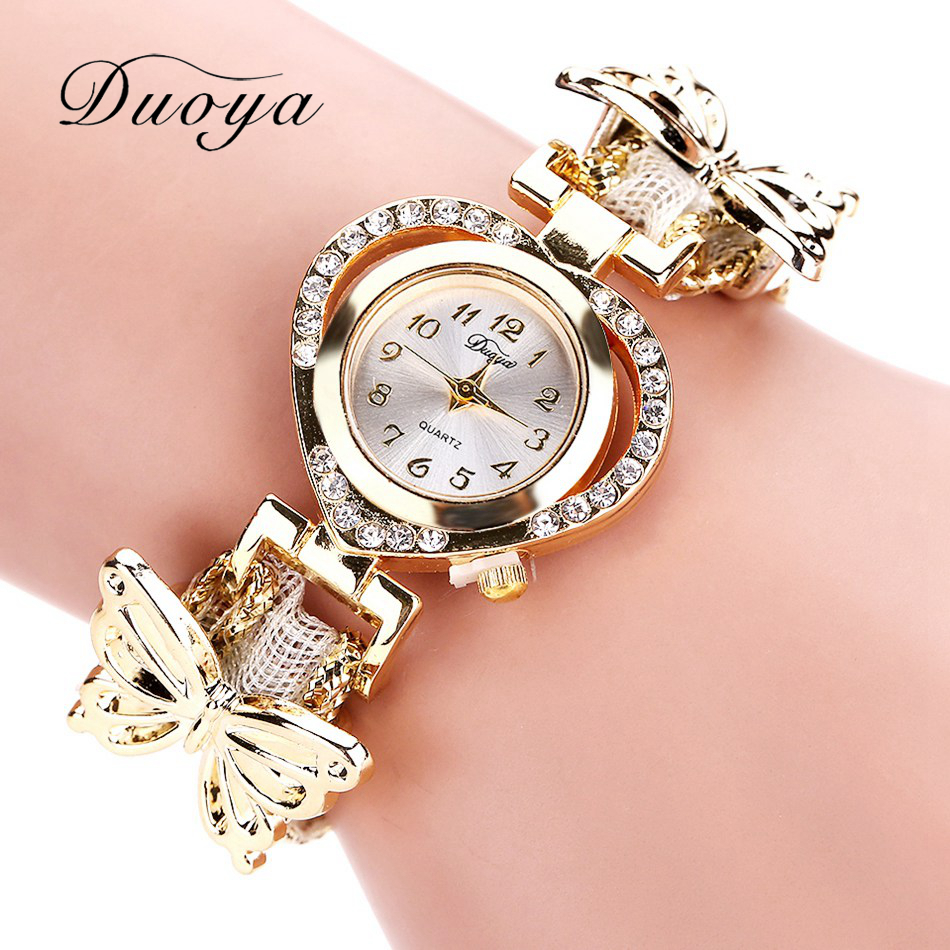 Duoya Brand Watch Women Bracelet Heart Bow Butterfly Watch Quartz Wristwatch Clock Ladies Casual Luxury Women Dress Watch  DY056 women wristwatch women crystal rhinestone butterfly bracelet quartz watch wristwatch aug 23