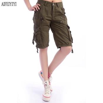 Denim Pantalon Femmes 2019 Army Green Loose Knee Length Multi-Pocket Baggy Jeans Cargo Short Pants Men/Womens Military Trousers 3