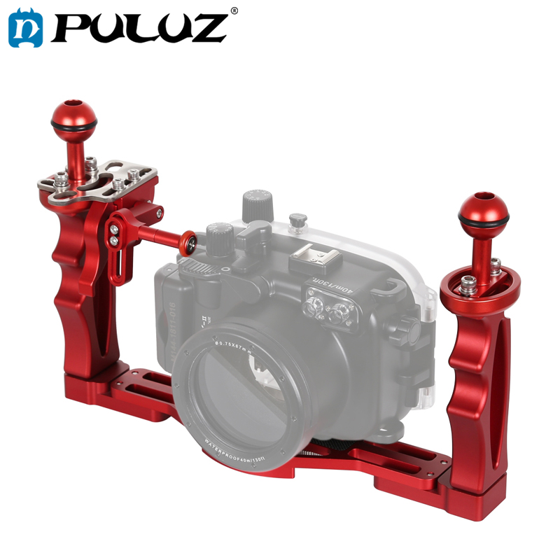 PULUZ Dual Handles Tray Stabilizer with Shutter Release Trigger Extension Adapter Lever Mount For Underwater Camera Housings-in Sports Camcorder Cases from Consumer Electronics