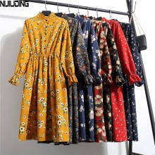 NIJIUDING New Autumn Winter Women Casual Dress Elastic Waist Stand Neck Printed Corduroy Dress Long Sleeve Vintage Dropshipping