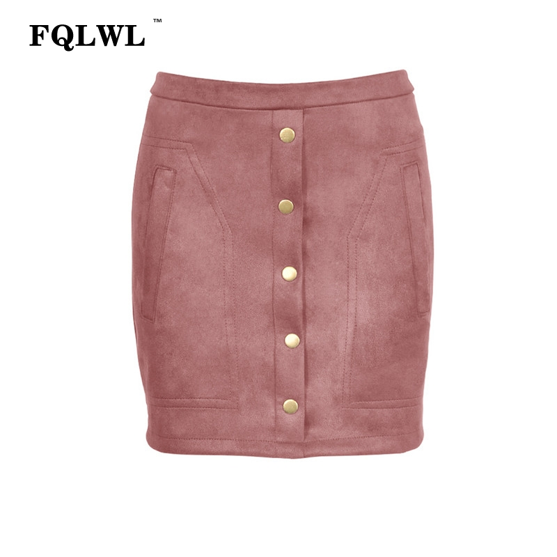 8e03d5cd9860c9 FQLWL Suede Faux Pu Leather Skirts Womens Pink High Waist Short Wrap Sexy  Skirt Female Streetwear Skinny Pencil Mini Women Skirt