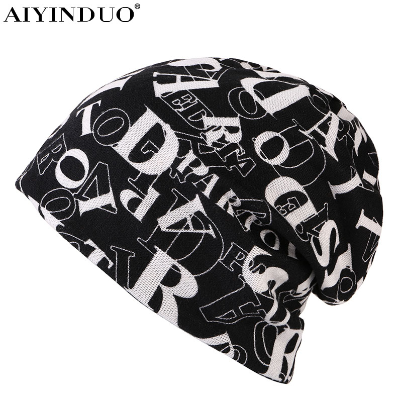 AIYINDUO New hot sale Women Warm Autumn Caps For Girl 2-used For Knitted Scarf Female Letter print Beanies Hat Adult skullies miaoxi women autumn hat two used caps knitted scarf adult unisex casual letter beanies warm autumn beauty skullies hat girl cap