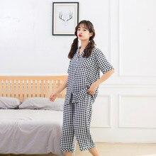 Summer New Women Cool Comfortable Pajamas Short Sleeve Plaid Pyjamas Sleepwear Cute Calf-Length Pants Pijama Sleep Set