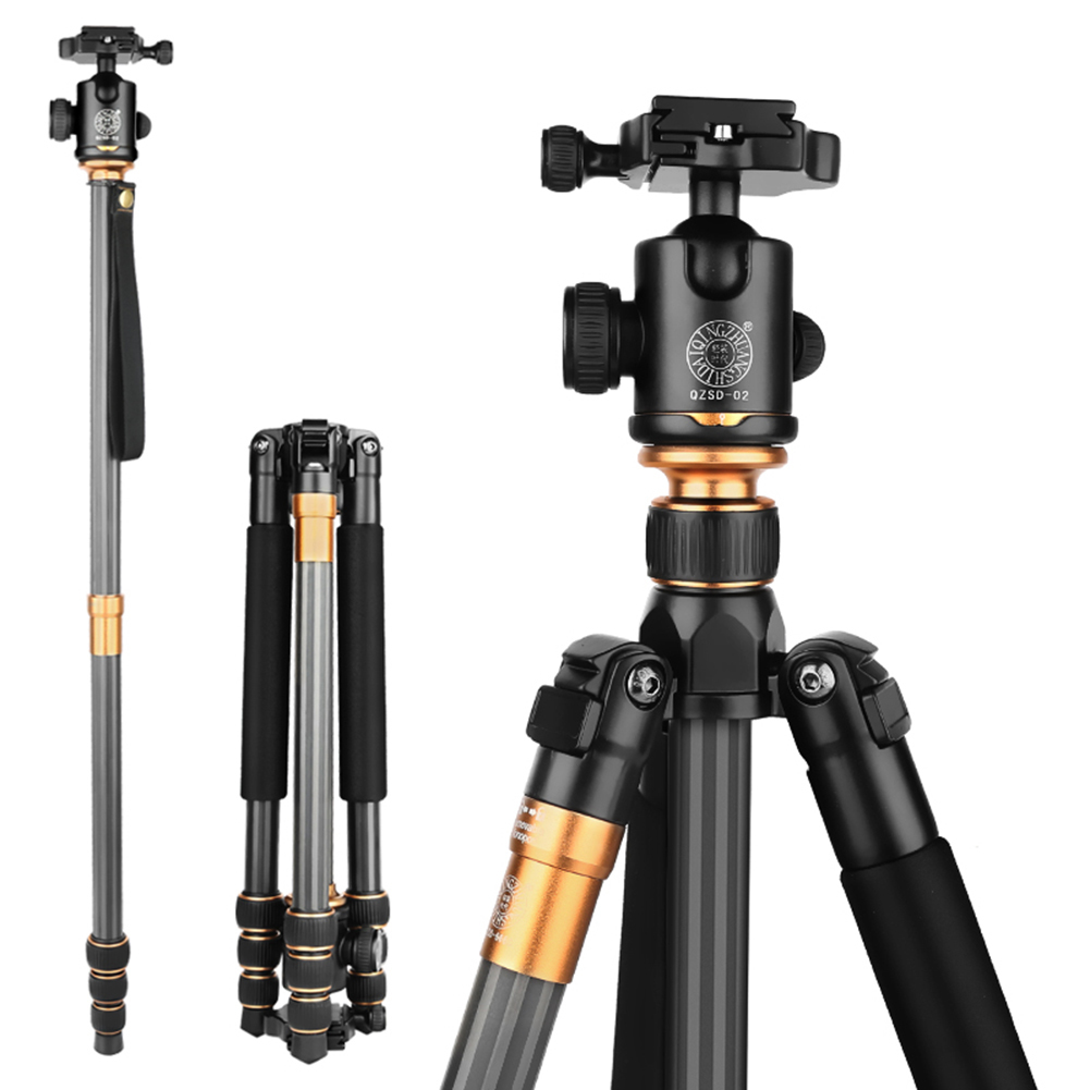 Original QZSD Q999C Portable Carbon Fiber Tripod Kit Hot Sale Professional Photographic Monopod Stand Ball head For DSLR Camera