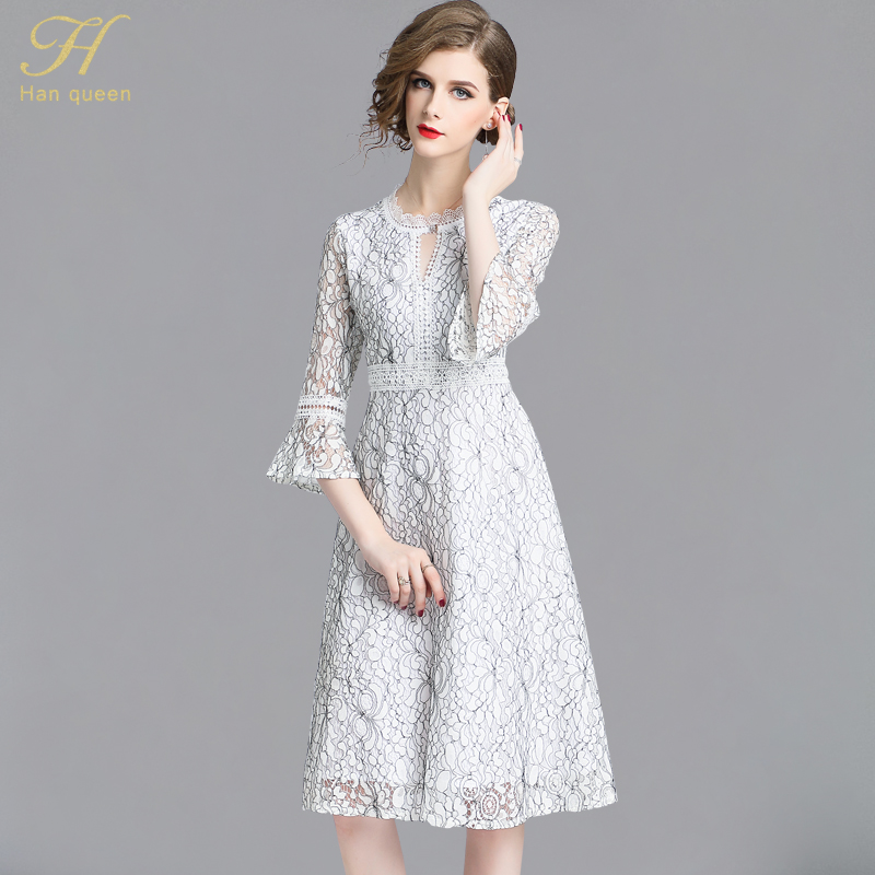 43546fd388 H Han Queen Lace Dress Women Autumn Flare Sleeve Runway Office Dresses  Casual Slim Sexy Hollow