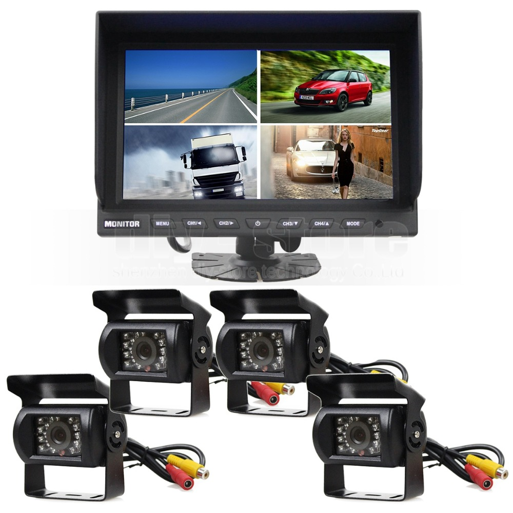 4 ch 9 inch car monitor truck tractor reversing security system 4 x ccd rear view camera kit for. Black Bedroom Furniture Sets. Home Design Ideas